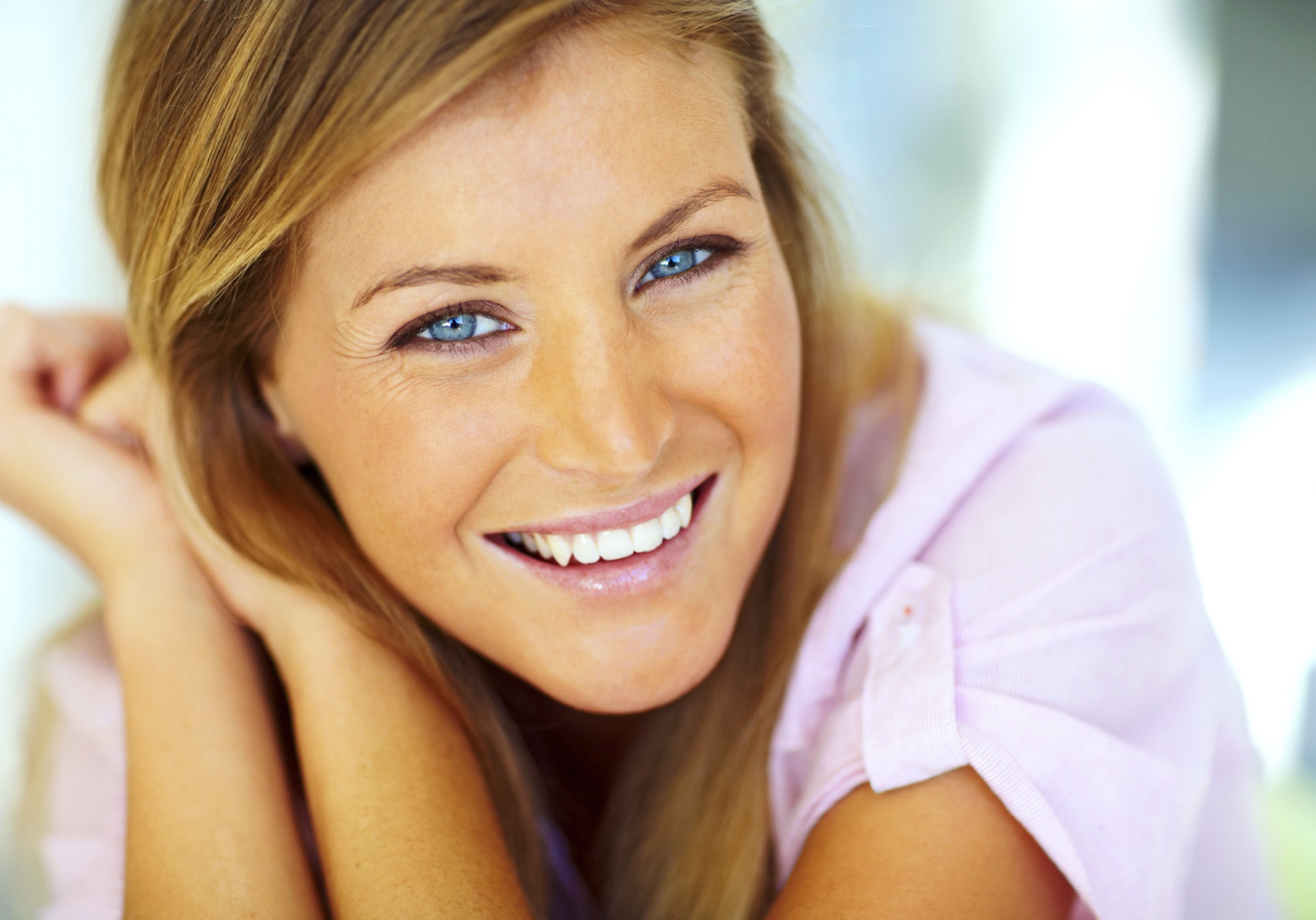 Closeup portrait of an attractive young woman posing